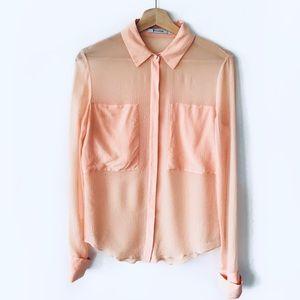 T by Alexander Wang • silk combo blouse